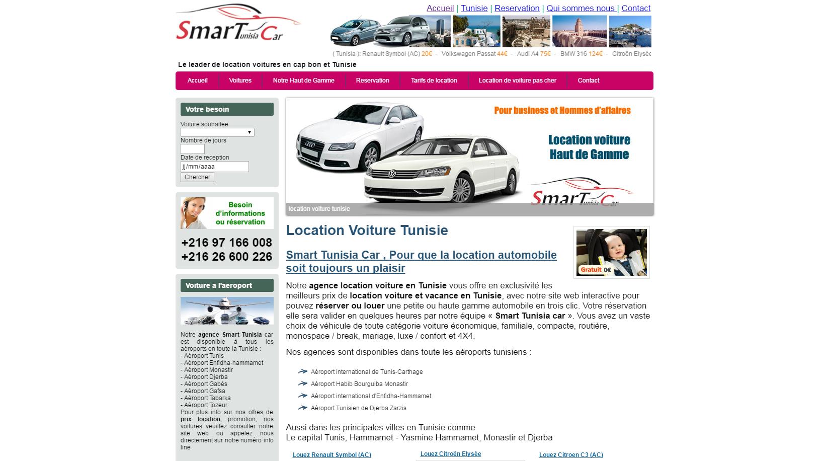 smart tunisia car correction site location voiture tunisie hammamet informatique services. Black Bedroom Furniture Sets. Home Design Ideas
