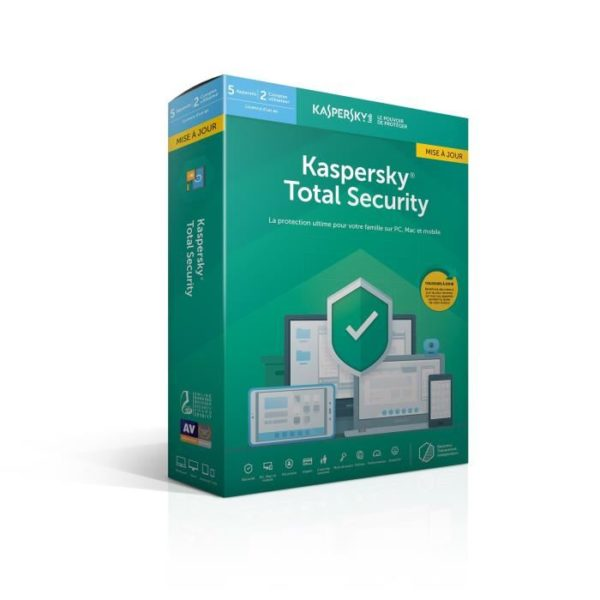 KASPERSKY Total Security 2019 mise à jour, 5 postes, 1 an special Europe et la France